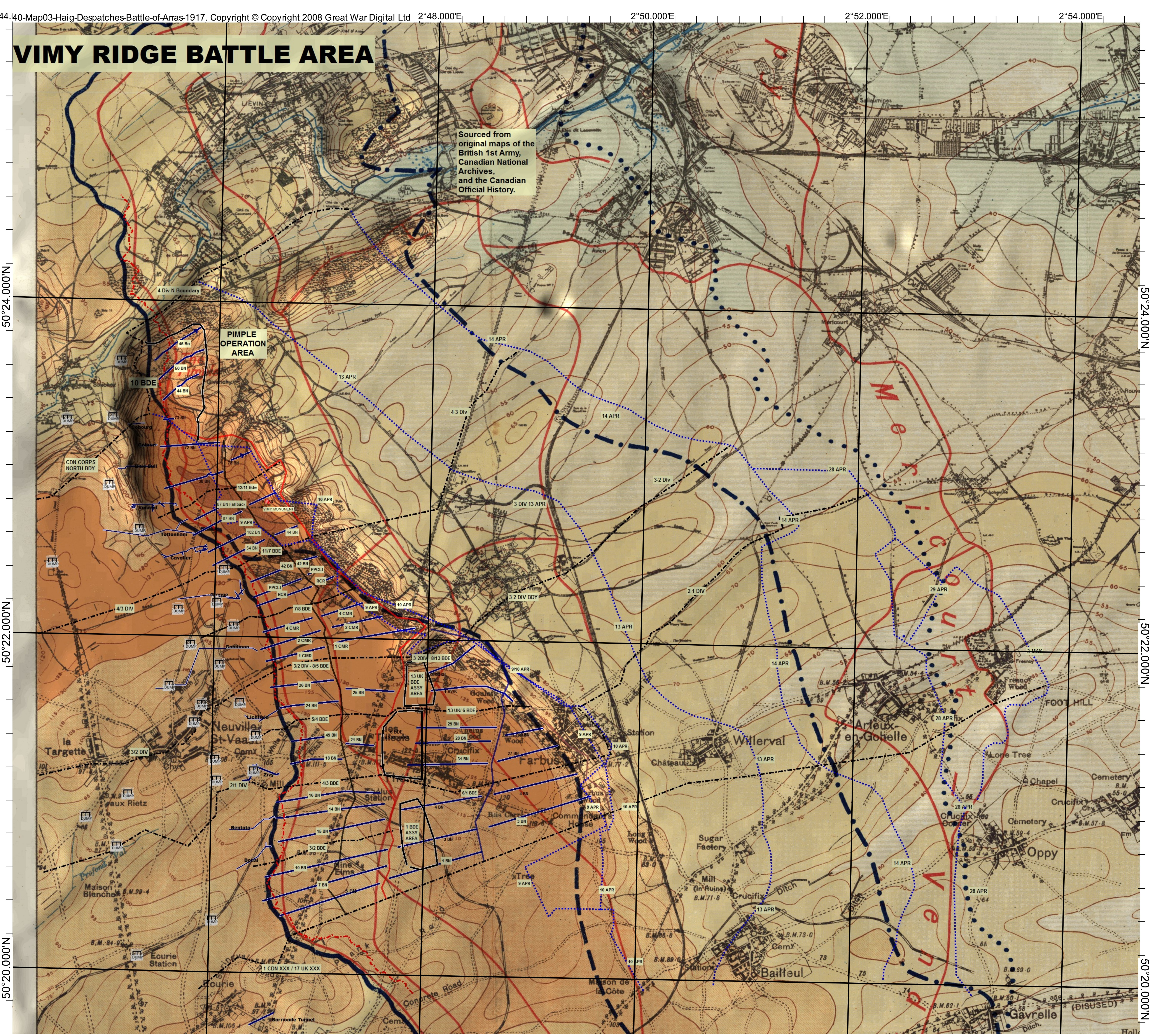 Map Of France Vimy.Vimy Ridge Map Central Ontario Branch Western Front Association
